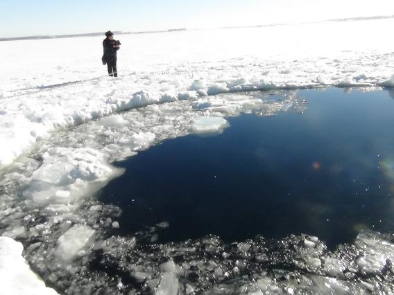 A hole in Chebarkul Lake made by meteorite fragments. A large, bright meteor blazed across the sky in Russia's Chelyabinsk region on February 15, 2013. Photo ITAR-TASS Itar-Tass Photos/Newscom
